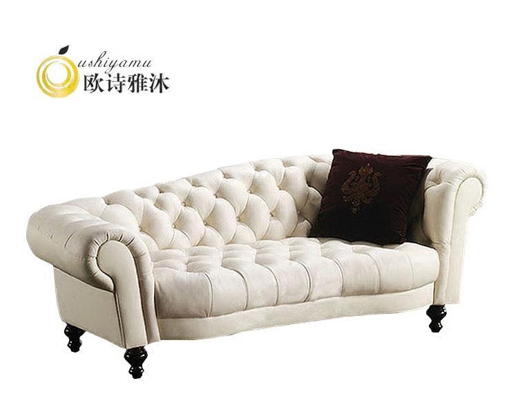 欧式新古典皮艺贵妃椅法式卧室贵妃榻客厅休闲美人榻太妃躺椅沙发