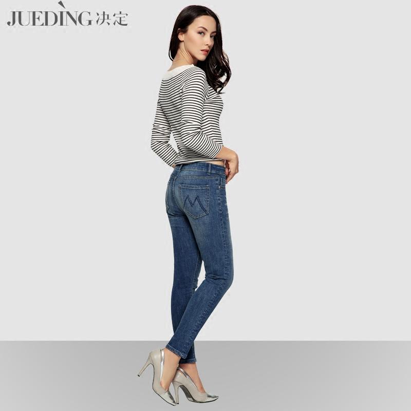 决定春季欧美牛仔裤女小脚裤显瘦修身长裤弹力铅笔裤