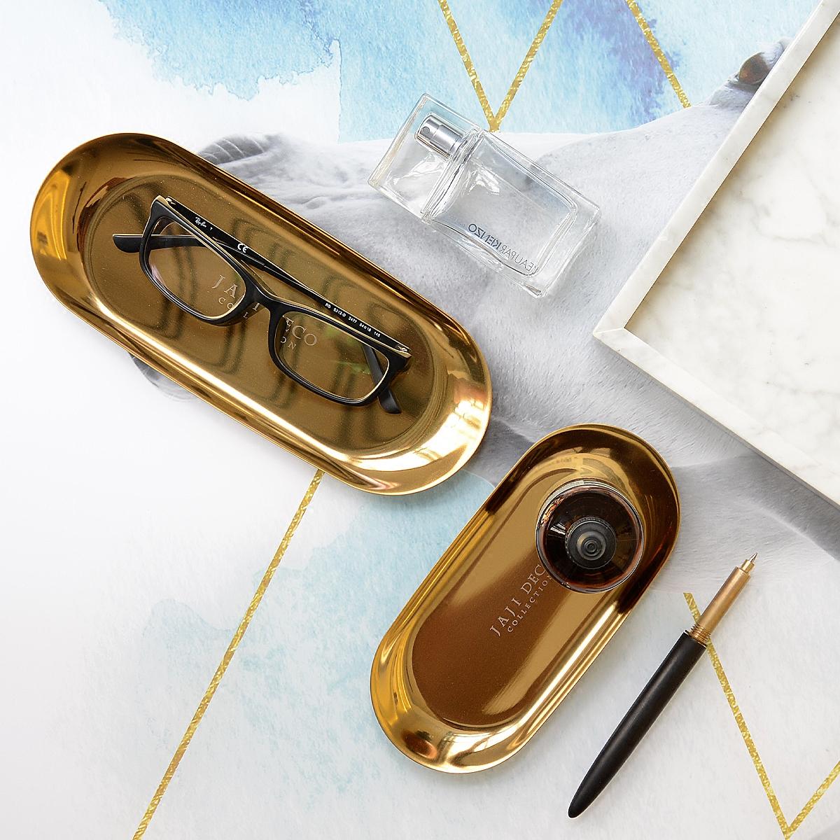 北欧丹麦款金色不锈钢置物盘点心果盘首饰桌面收纳托盘样板间摆件