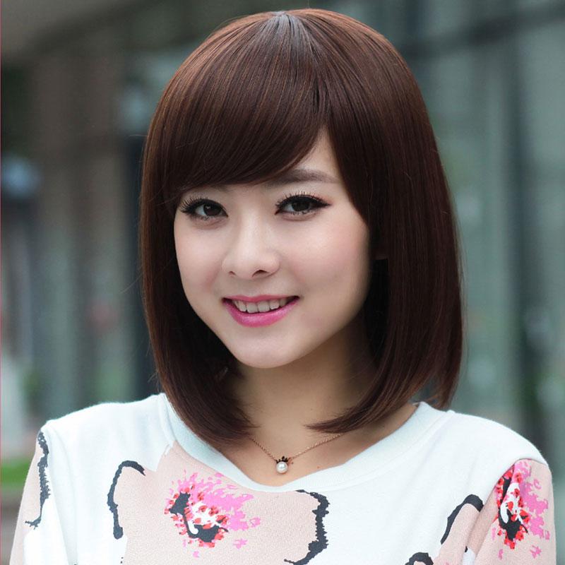 星光斜劉海時尚修臉假髮女短髮韓國帥氣bobo頭逼真美髮波波頭直髮