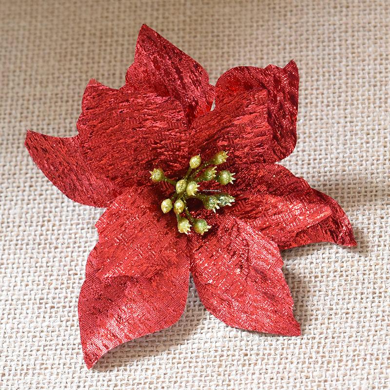 诺琪 15cm金布圣诞花圣诞树装饰仿真花人造假花diy圣诞节装饰品