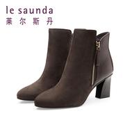 莱尔斯丹 拼接粗跟高跟拉链女靴短靴8T65404