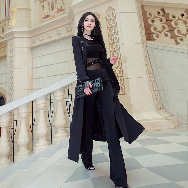 型色缤纷春装新款韩版通勤气质显瘦修身中长款双排扣薄风衣外套女