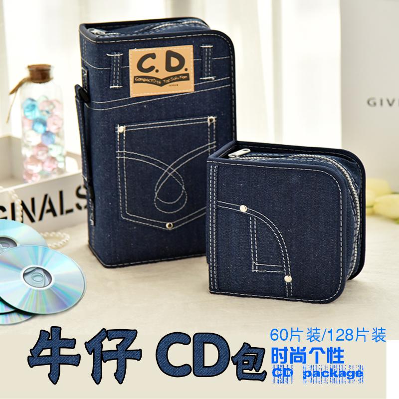 包郵時尚牛仔CD盒 大容量光碟光碟收納盒 車載辦公CD包 音樂DVD包