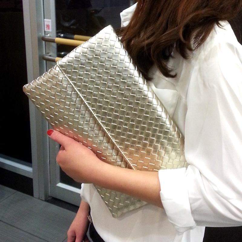2019新款時尚編織女包手拿包女士鏈條小包信封包單肩斜挎包個性潮
