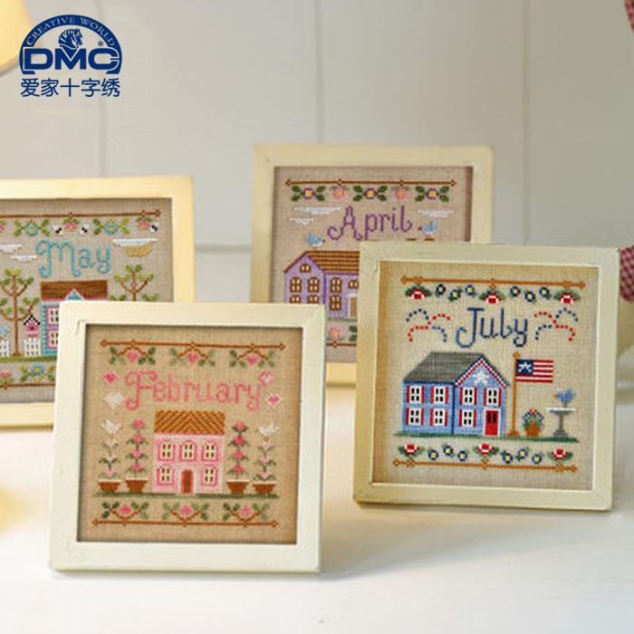 法國DMC十字繡風景歐美雜誌款小幅12月小房子我的家 精準印花帶框