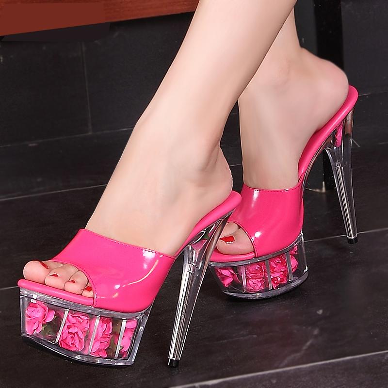 模特高跟鞋細跟紅色婚鞋水晶鞋防水臺15cm恨天高超高跟涼拖鞋女夏