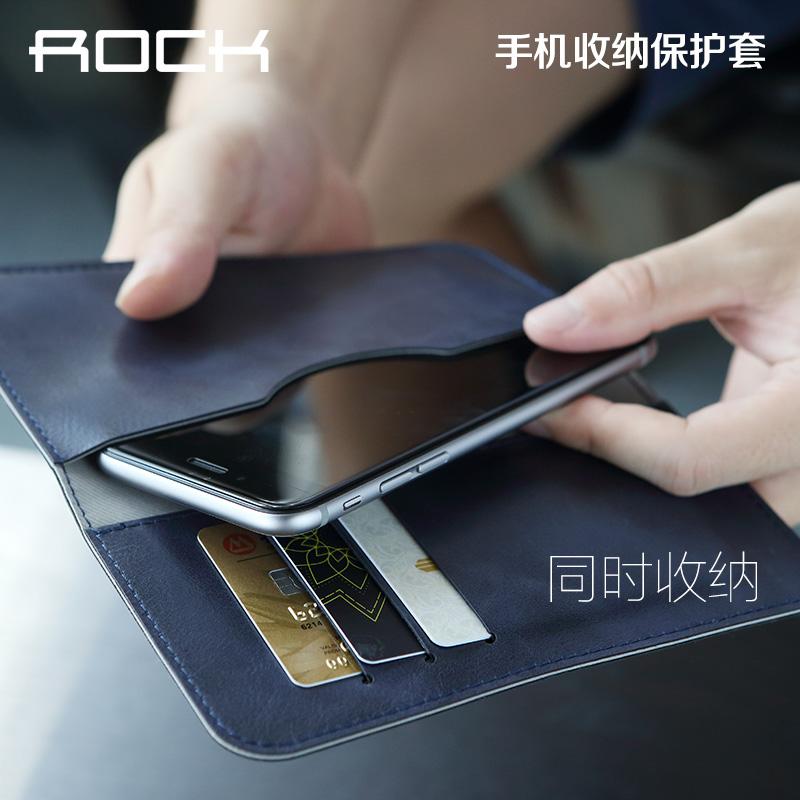 ROCK 蘋果8手機套 蘋果6收納袋 iPhone7皮套錢包 6S保護套手機殼