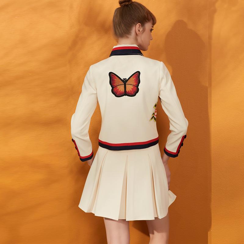 2018春季新品套装欧美刺绣短外套上衣百褶半身裙短裙小香风两件套