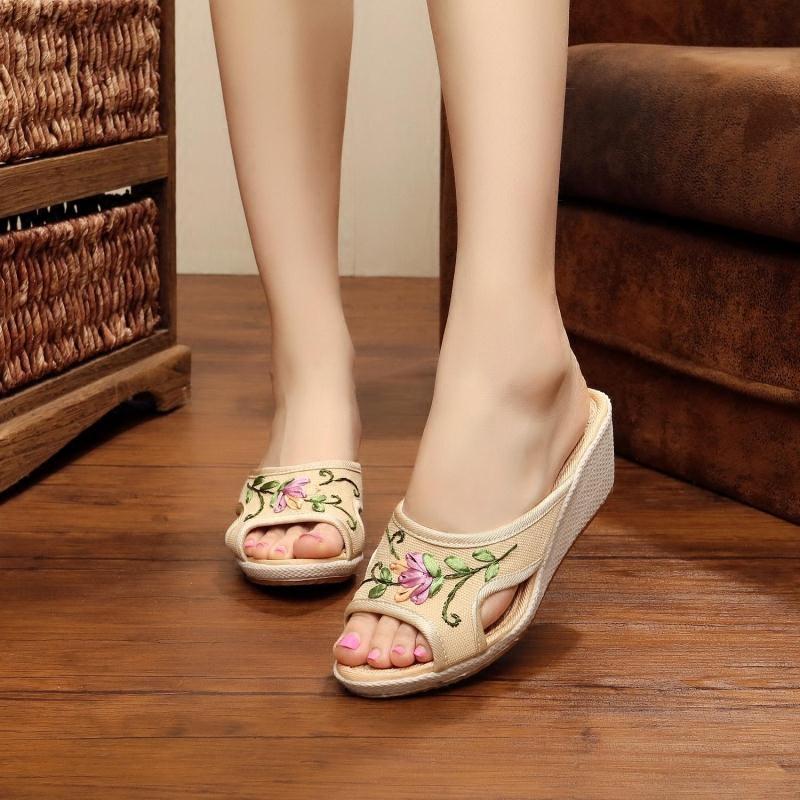 老北京布鞋女拖鞋坡跟亞麻舒適居家外穿拖鞋防滑繡花鞋高跟牛筋底