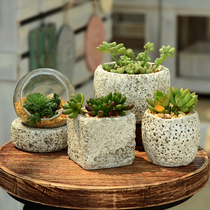 多肉花盆月球漫步系列迷你植物生石花复古做旧个性欧式陶瓷小花盆