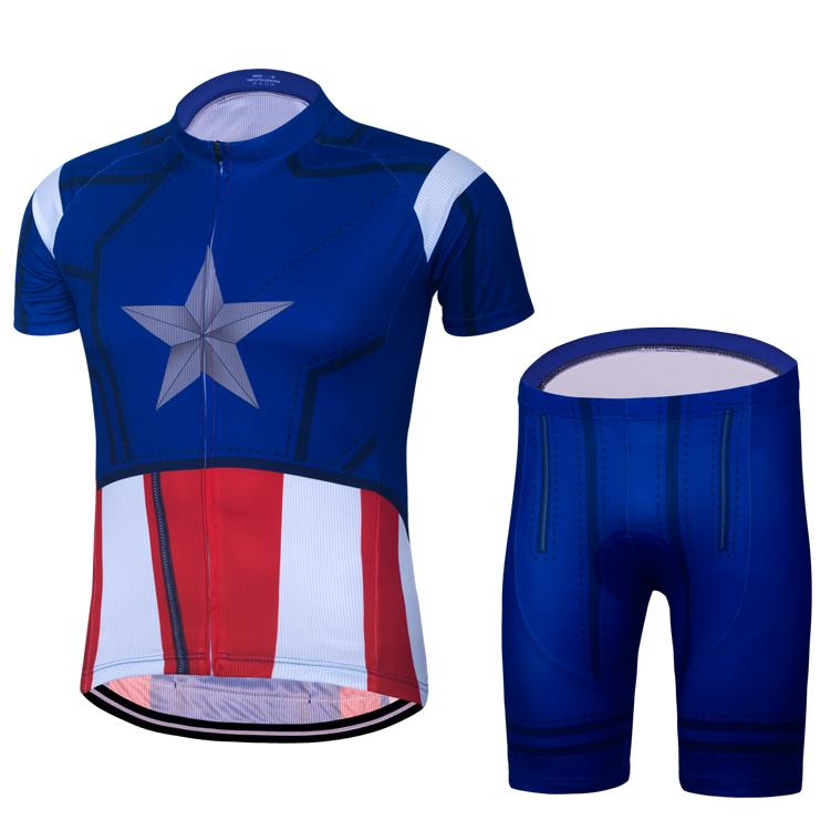 特價包郵 美國隊長Captain America騎行服短套裝英雄山地自行車單