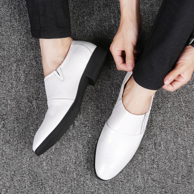夏季商務正裝皮鞋男英倫尖頭真皮韓版髮型師白色一腳蹬男鞋子婚鞋