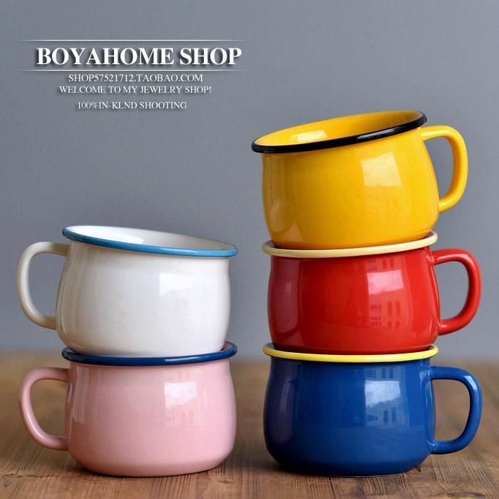 ◆美單DOUBLE COLOR 清新簡約 陶瓷 杯子 馬克杯 創意仿搪瓷500ml