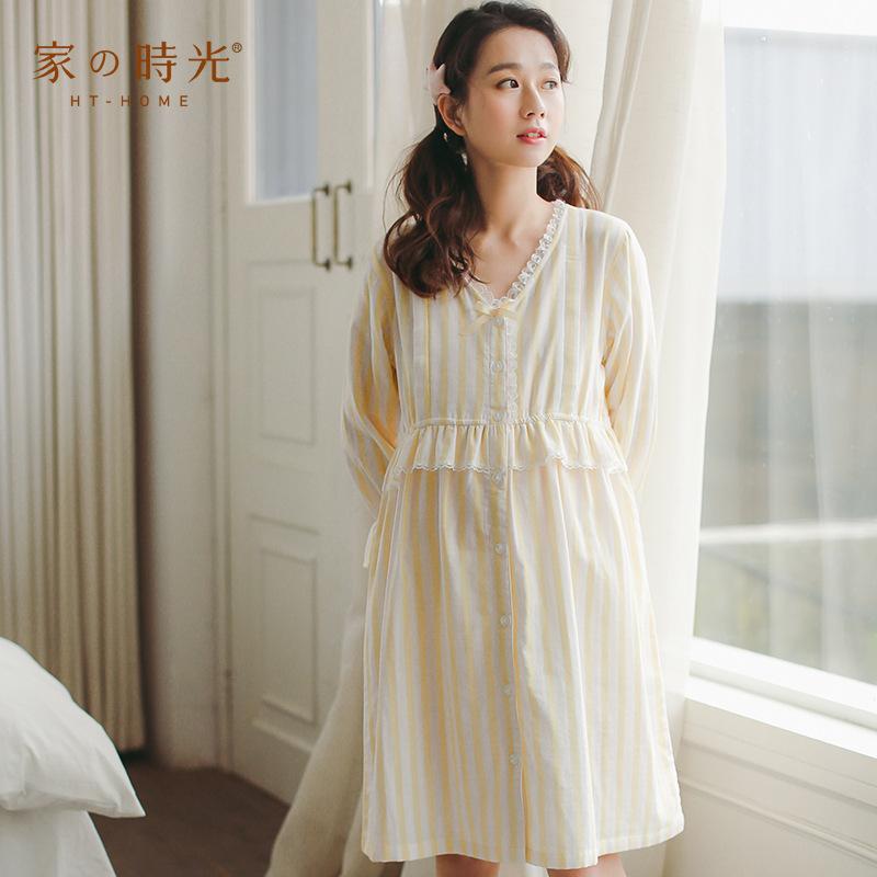 睡衣女夏全棉孕妇装纯棉睡衣哺乳连衣裙长袖睡裙可外穿薄款家居服