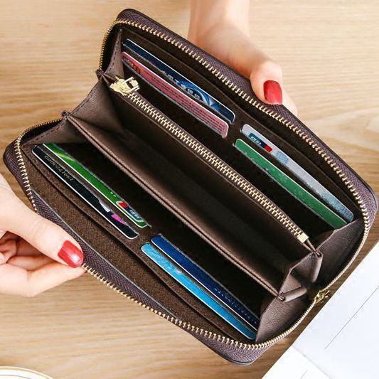 欧美新款钱包女士长款拉链大容量真皮手拿包手机包男士皮夹韩版潮