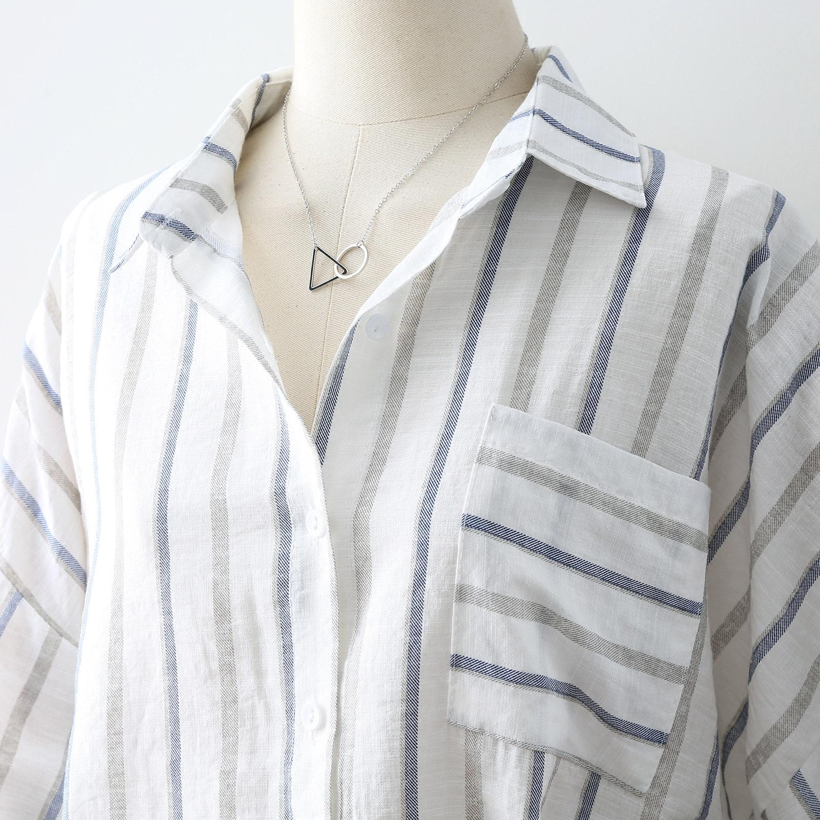 宽松显瘦条纹衬衫女夏半袖韩版常规文艺休闲衬衣棉麻薄款短袖上衣主图