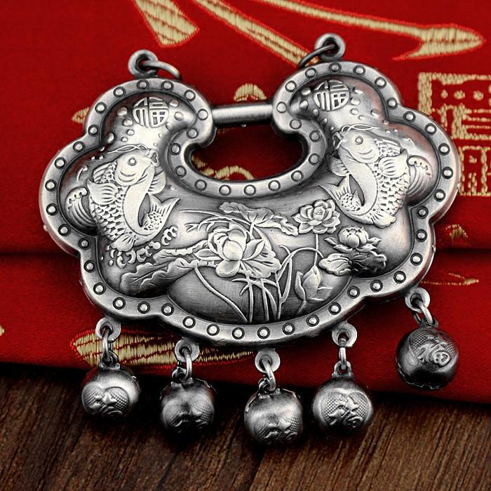 纯银锁复古长款毛衣链项坠 足银宝宝长命锁吊坠生日礼物  999