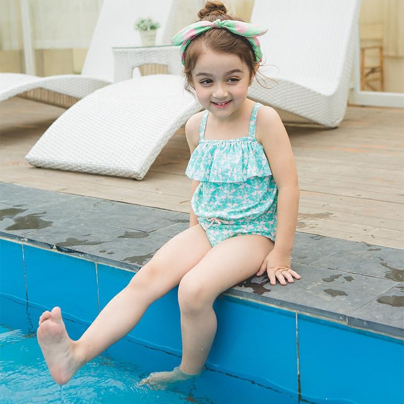 儿童泳衣小中童连体游泳衣 女童游泳衣温泉泳装沙滩泳衣防晒泳衣