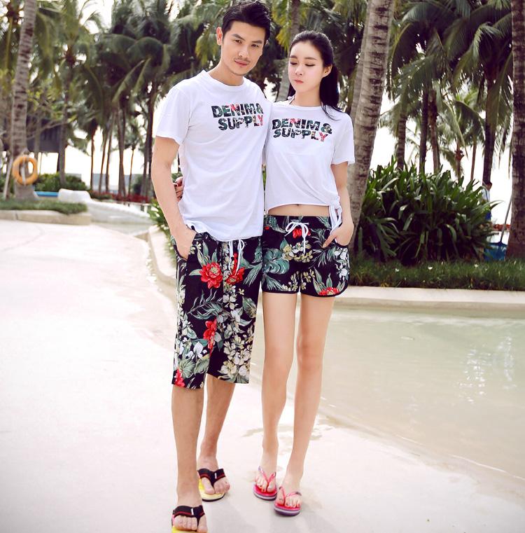 新款海灘度假綠葉紅花休閒情侶T  沙灘褲男女情侶裝海邊速幹短褲