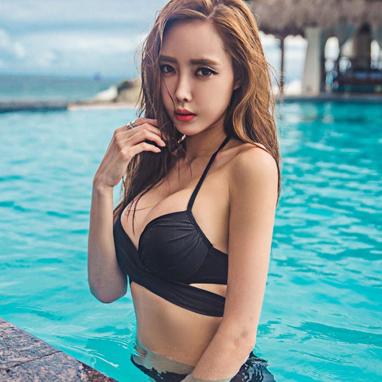 小胸也性感~韓國加厚罩杯黑色比基尼 鋼託聚攏bikini分體泳衣女裝
