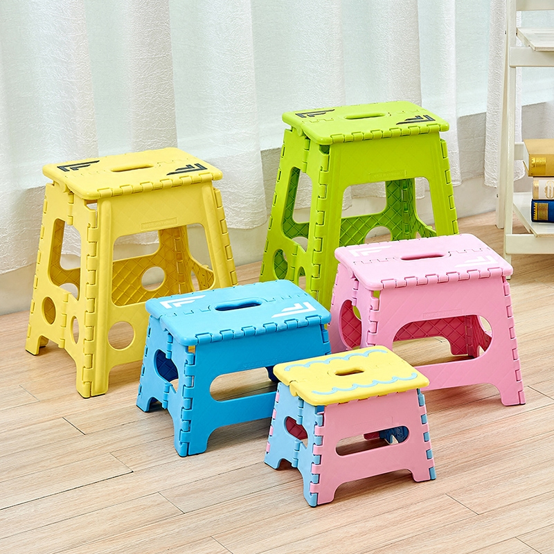 瀛欣加厚折叠凳子塑料靠背便携式家用椅子户外创意小板凳成人儿童