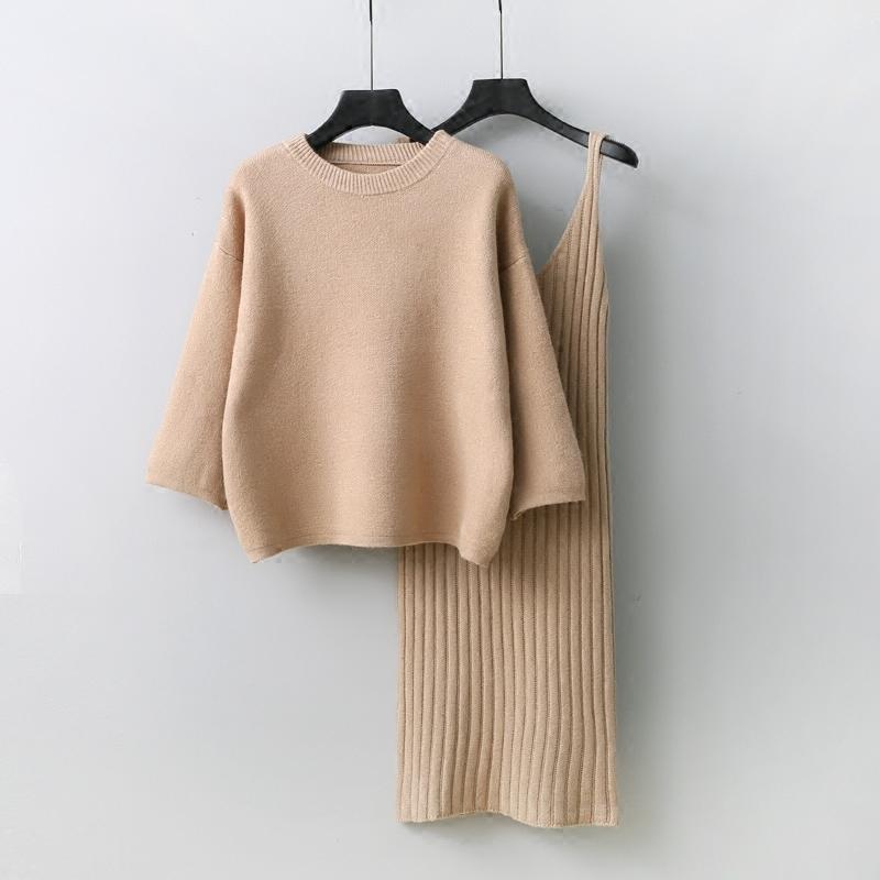 牛油果绿2019秋季新韩版宽松毛衣套装女两件套裙子纯色套头针织衫