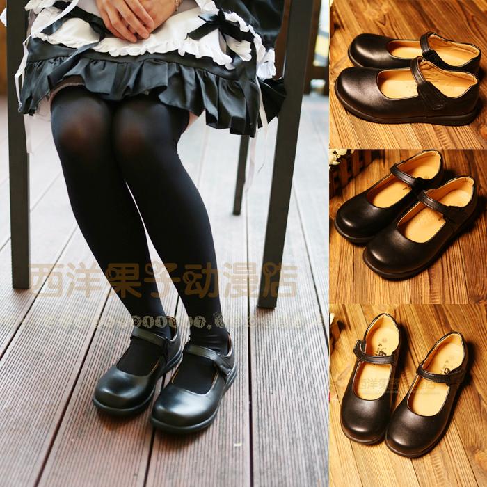 日系學生鞋女僕鞋日本娃娃鞋圓頭 萬用洛麗塔lolita皮鞋 黑色