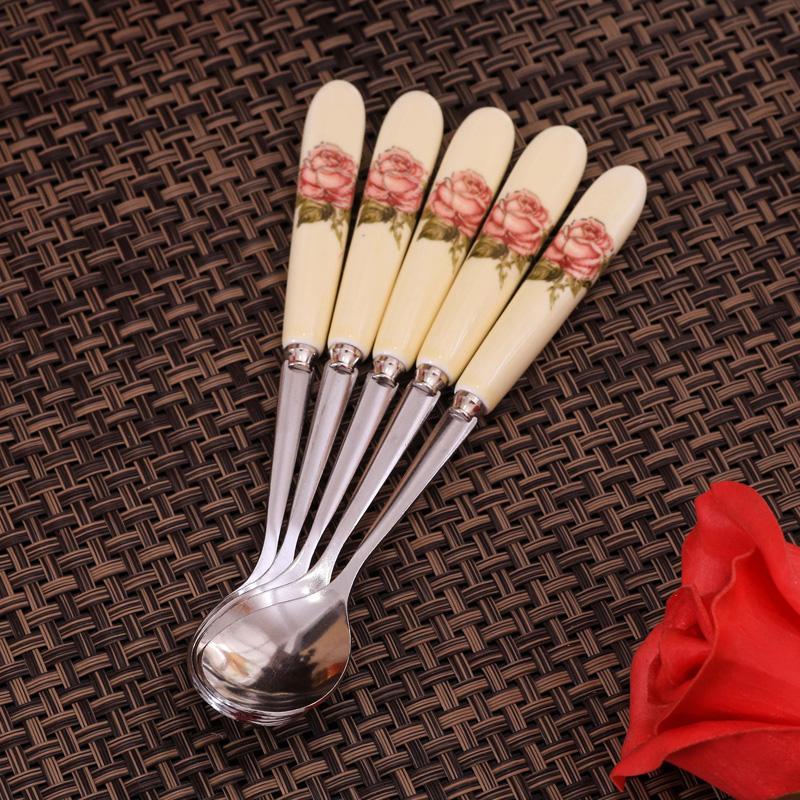 咖啡勺子陶瓷攪拌勺不鏽鋼小奶茶勺果粉勺杯勺創意迷你可愛攪拌棒