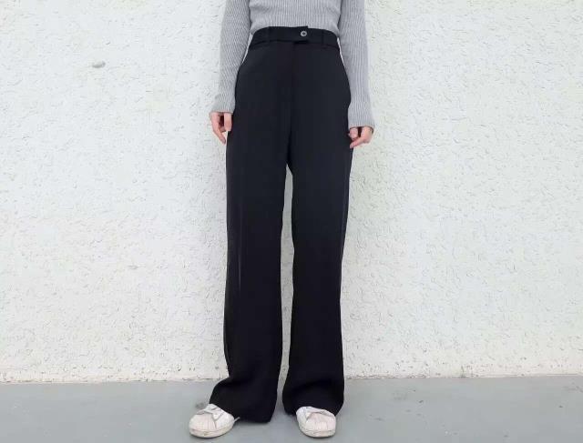 金寶定製 出口大長腿高腰直筒微喇拖地闊腿長褲黑色女西褲垂腿褲