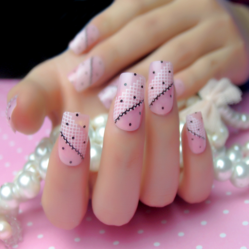 A Bride Pink Lace Adhesive Strips 24 Lovely Square Head Fake Nails Nail Patch Finished Piece Of Anese Beauty In Price On M Alibaba