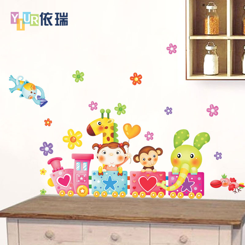 Buy According to swiss animal train removable wall stickers ...