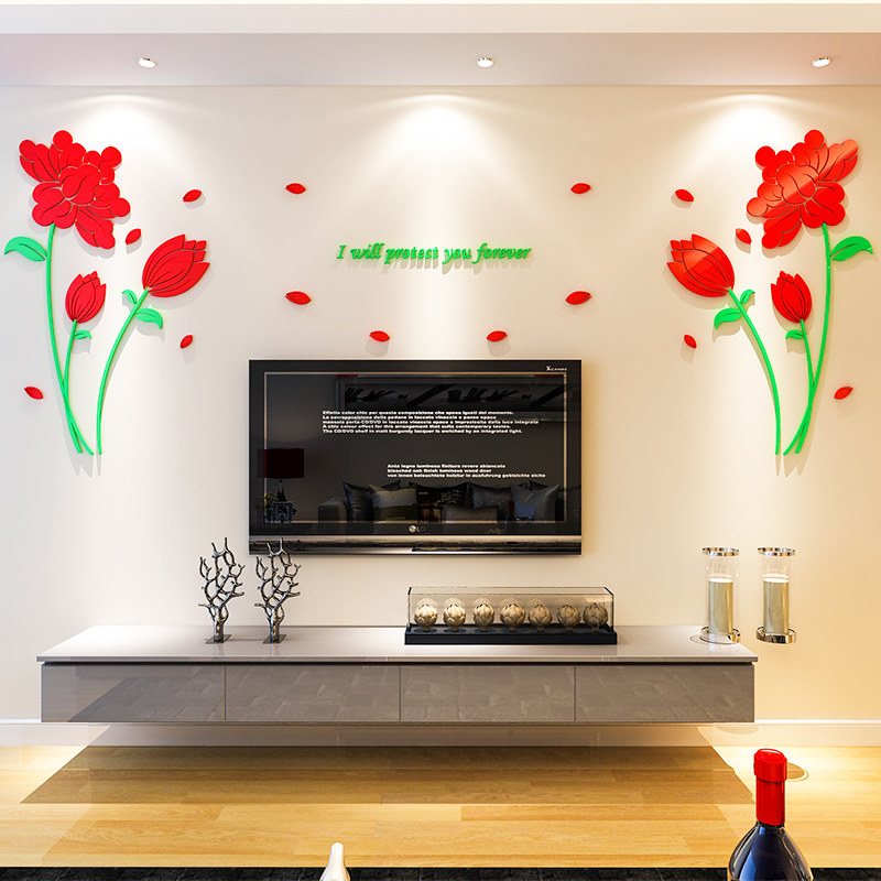 Buy Acrylic Crystal 3d Stereoscopic Wall Stickers Paper Flowers
