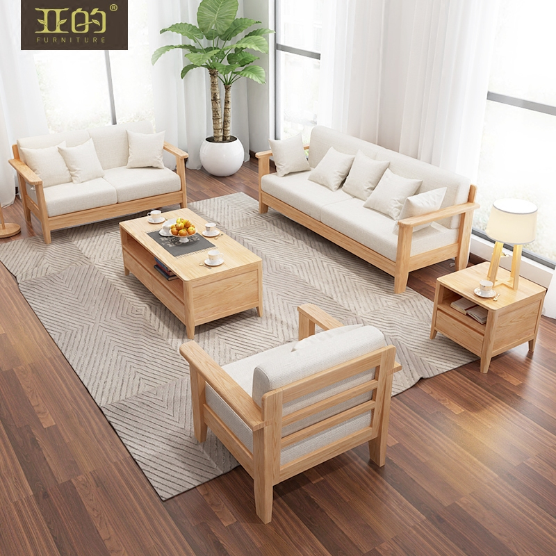 Buy All Solid Wood Ash Wood Sofa Combination Of Small Apartment  Scandinavian Minimalist Living Room Furniture Sofa Fabric Sofa Three  Washable In Cheap Price ...