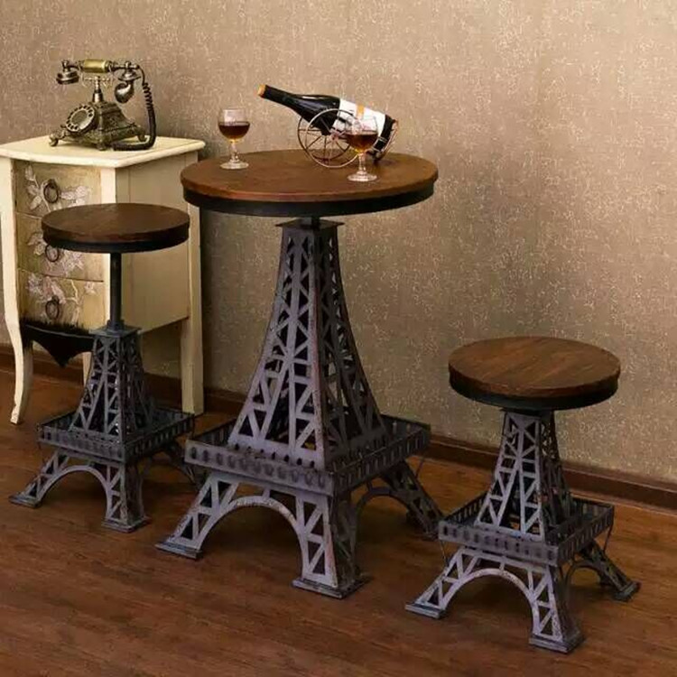 Buy American Industrial Loft Style Furniture Solid Wood Dining Table Vintage Wrought Iron Bar Station Cafe Dining Table And Chairs Small Round Table In Cheap Price On M Alibaba Com