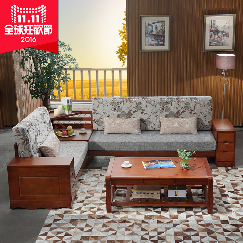 Attirant Buy Anju Xin Combination Of Rubber Wood Furniture Modern Minimalist Wood  Sofa Fabric Sofa Corner Combination Of Two X200 In Cheap Price On  M.alibaba.com