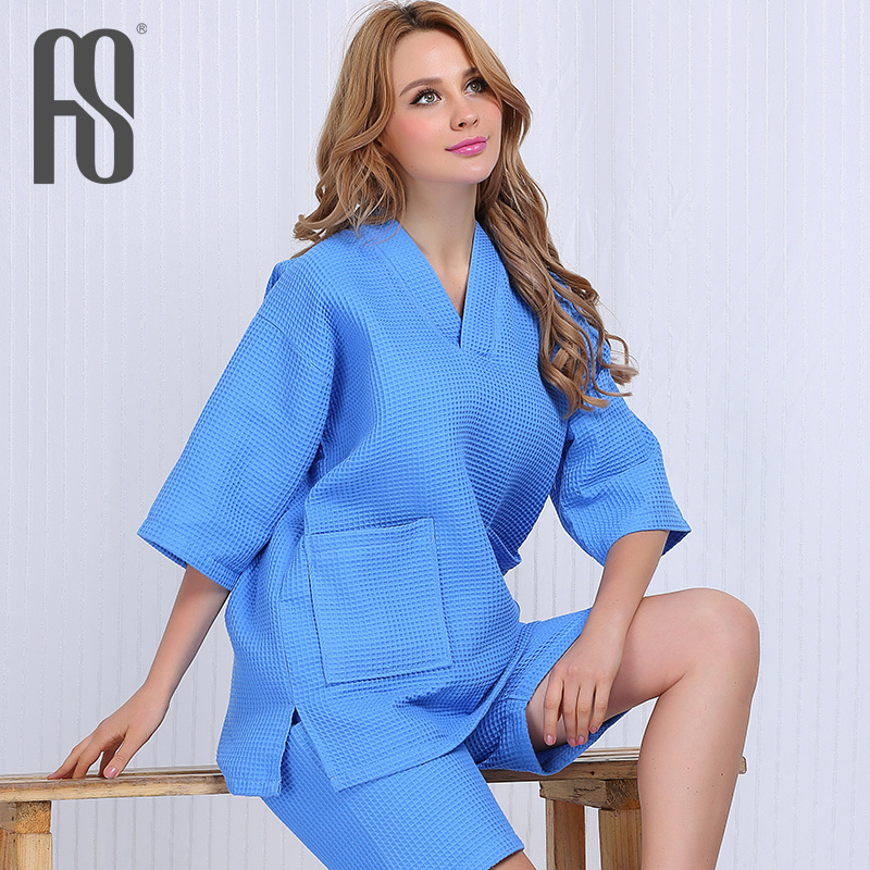 cb1fcdf920 Sweat steaming clothes female korean version of chen yue waffle mulberry  take female models upscale clothing for men and women couples massage bath  clothes ...