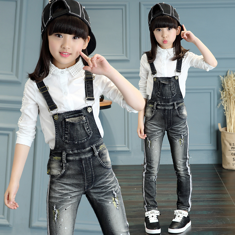 88edb18f2 Buy Autumn new black girls children wear girls jeans fashion tide ...