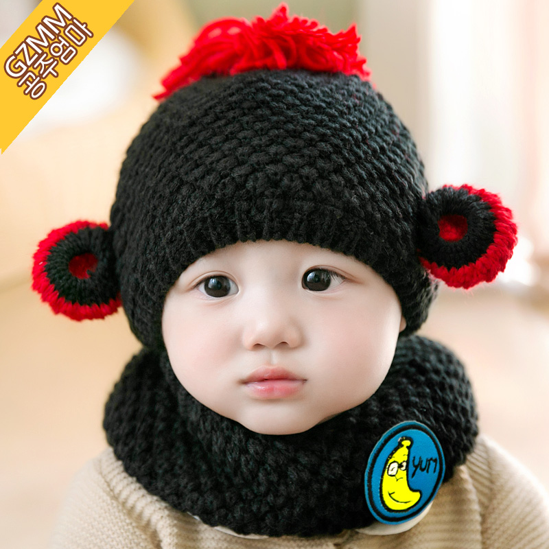 1e86da3db5e54 Buy Baby boys and girls plus velvet hat autumn and winter 1-2-year-old  0--3--6--12 100 auml  cedil  ordf moon baby hat children wool cap suit in  Cheap Price ...