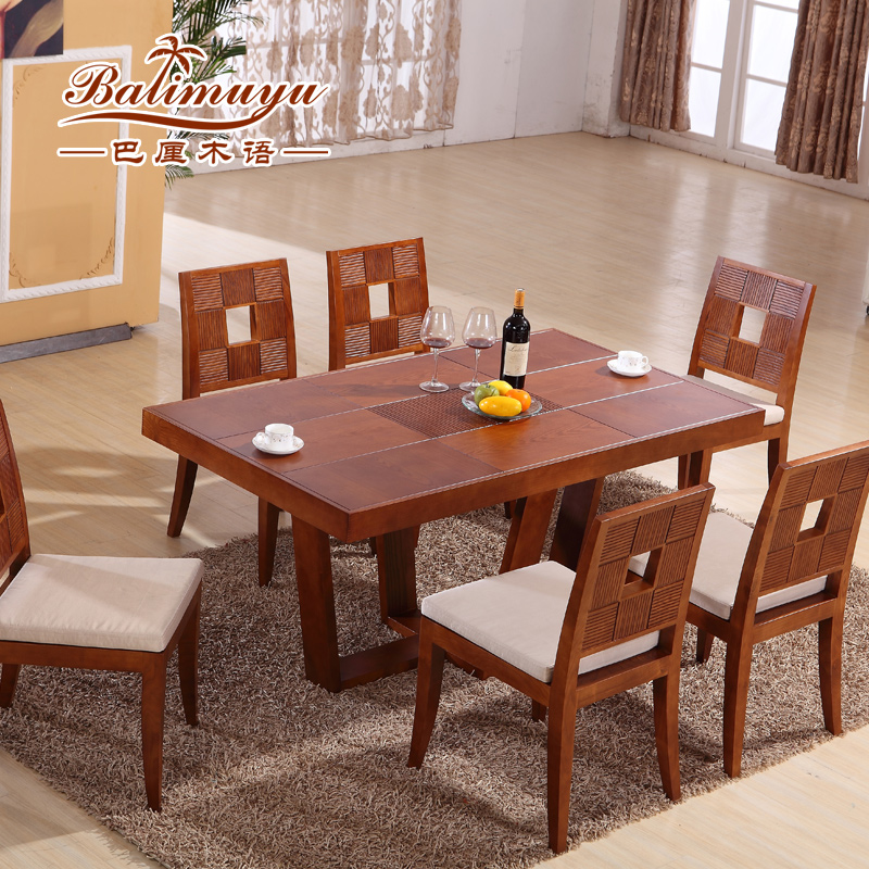 Balinese Wooden Language Ash Solid Wood Dining Tables And Chairs Table And  Four Chairs Dinette Combination Living Room Furniture In Southeast Asia