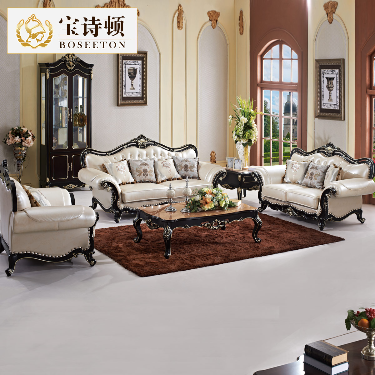 Buy Bao Liston SO12 Continental Carved Wood Sofa Sofa Leather Sofa Leather  Sofa Living Room Furniture Sofa Combination In Cheap Price On M.alibaba.com
