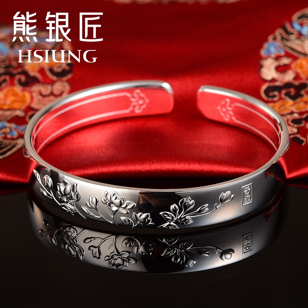 Buy bear silversmith s999 sterling silver bracelet female models buy bear silversmith s999 sterling silver bracelet female models ethnic style adult jasmine flowers retro bracelet bracelet opening in cheap price on izmirmasajfo