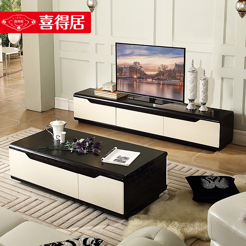 Blessed With Habitat Creative Small Apartment Telescopic Coffee Table Tv Cabinet Combination Suit Modern Minimalist Living Room Furniture Combinations