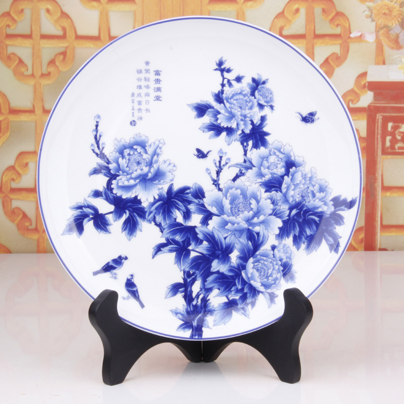 Buy Blue And White Porcelain Plate Ceramic Ornaments Pottery