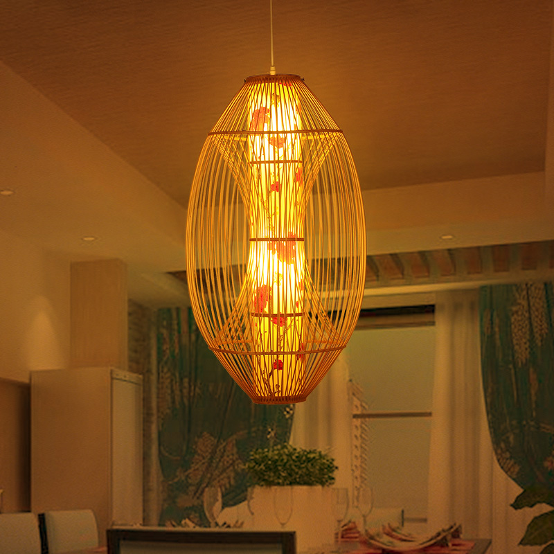 Chinese Bamboo Chandelier Southeast Asian Style Woven