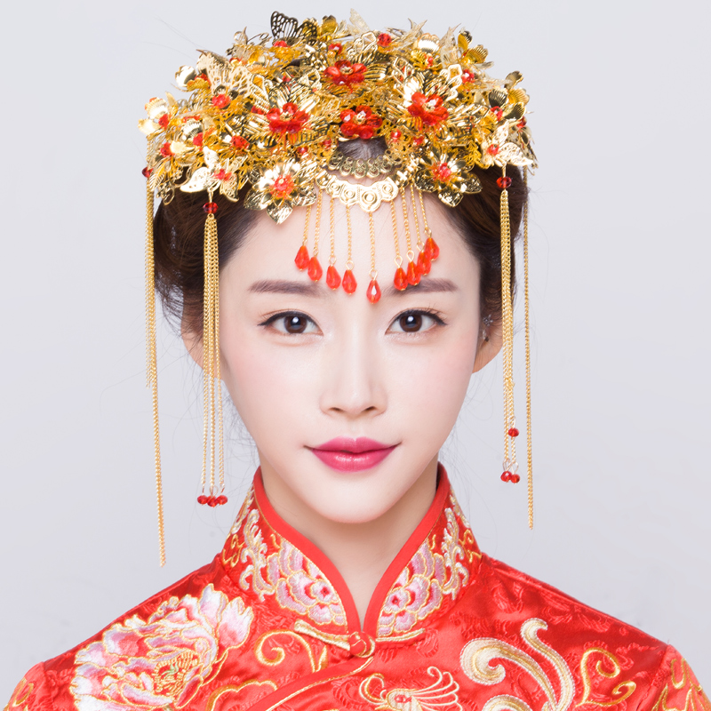 Buy Chinese vintage wedding dress bride costume headdress hair