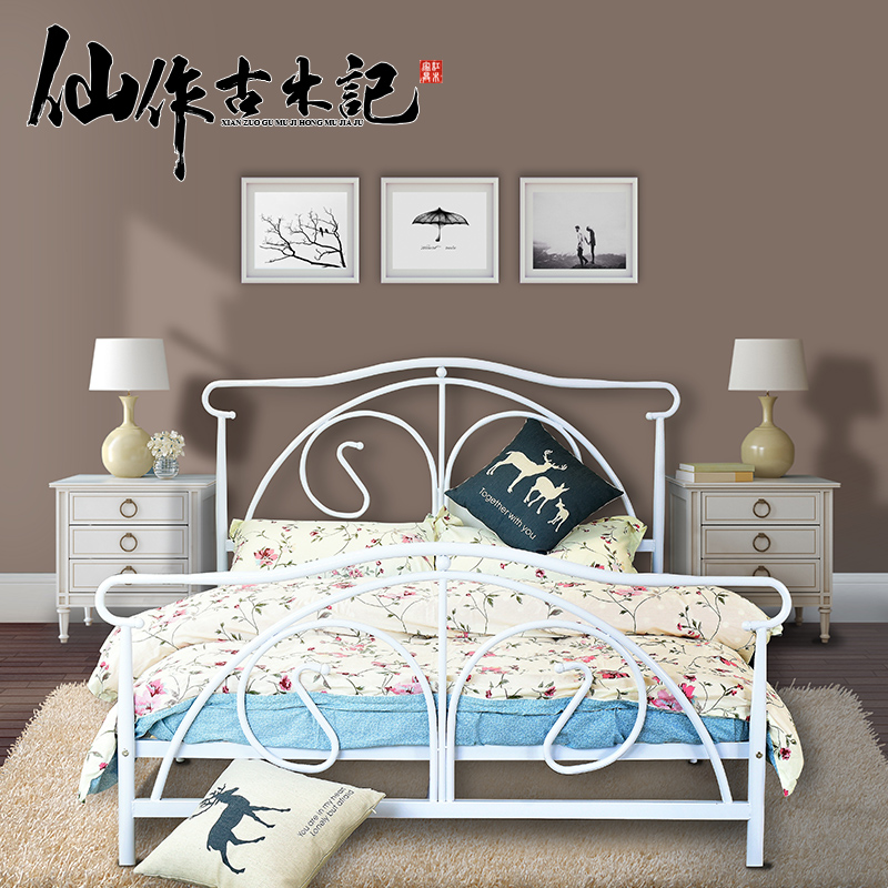 Buy Continental Iron Bed Double Beds Minimalist Steel Wooden