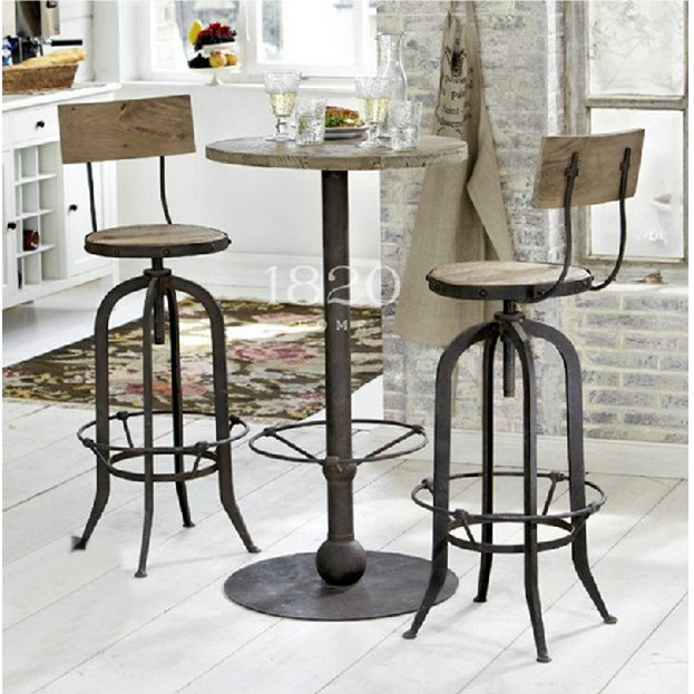 American Loft Wrought Iron Bar Stools Wood Tables And Chairs Tall Chair Stool
