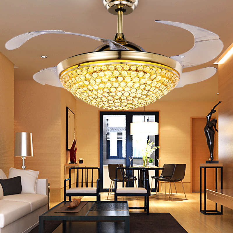 Buy crystal led stealth fan lights ceiling fan light modern home buy crystal led stealth fan lights ceiling fan light modern home living room dining chandelier fan with light remote control in cheap price on mibaba aloadofball Image collections