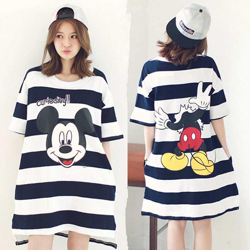 Buy Cute cotton nightgown female summer short sleeve pajamas korean girls  loose striped card through mickey tracksuit in Cheap Price on m.alibaba.com 36bb83388